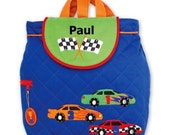 SALE ... Toddler Backpack Personalized Race Car Quilted Stephen Joseph