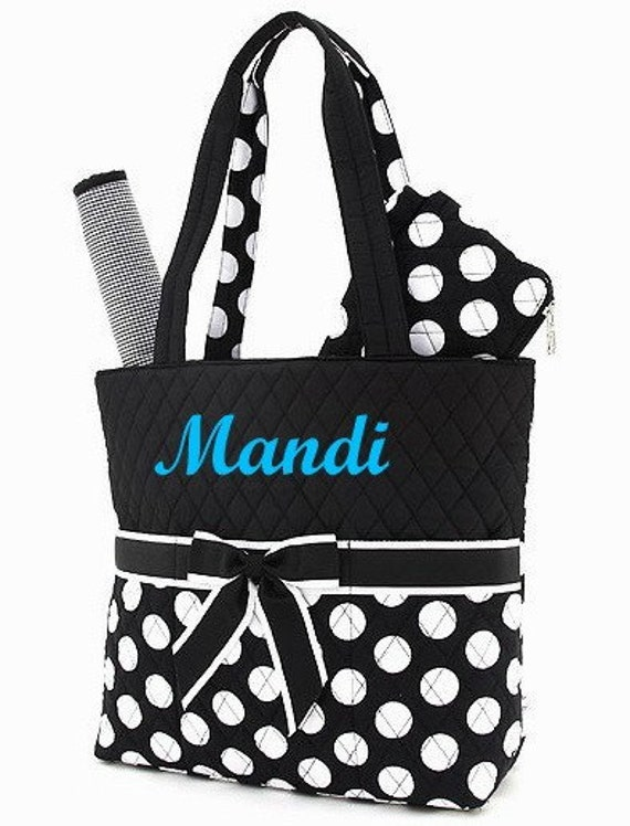 diaper bag personalized quilted black white polka dots. Black Bedroom Furniture Sets. Home Design Ideas