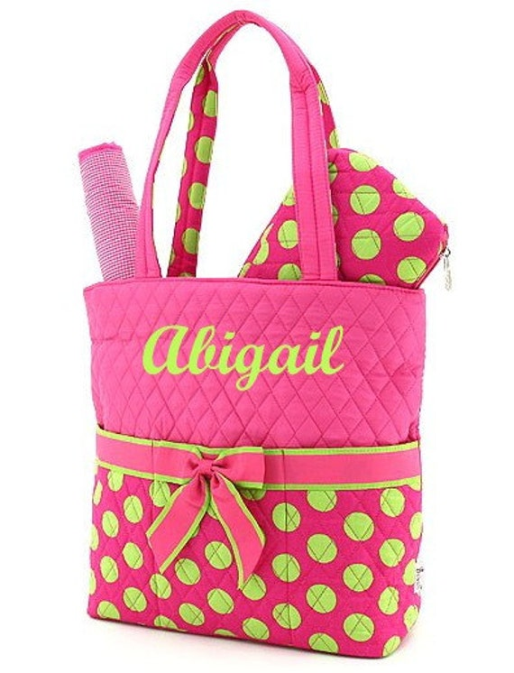 LAST ONE ... Diaper Bag Personalized Quilted 3 pc Fuchsia Lime Dots