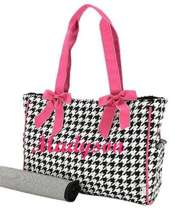 sale diaper bag personalized quilted 2 pc black checks. Black Bedroom Furniture Sets. Home Design Ideas