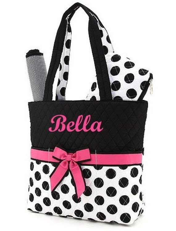 diaper bag personalized quilted 3 pc black white fuchsia. Black Bedroom Furniture Sets. Home Design Ideas