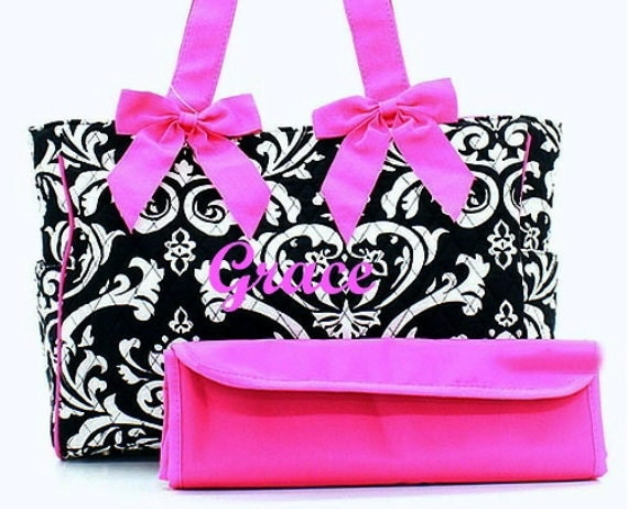Diaper Bag Personalized Black Damask Fuchsia Quilted Set