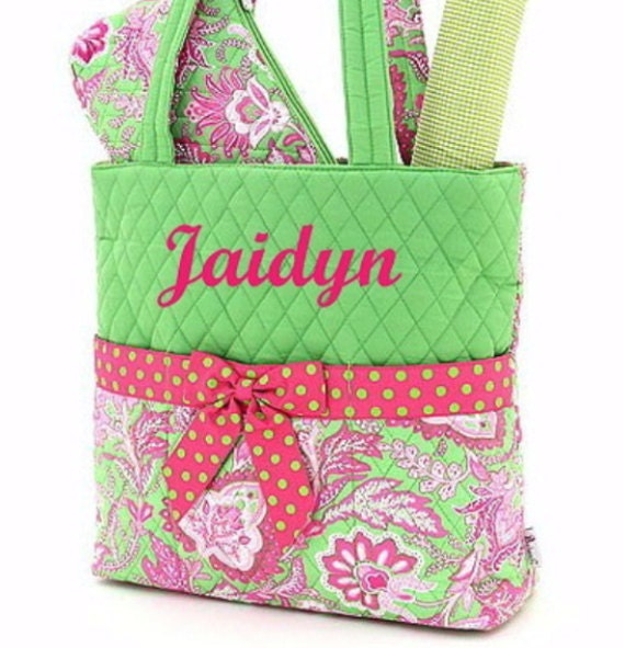 Personalized Diaper Quilted Lime Green Fuchsia Set