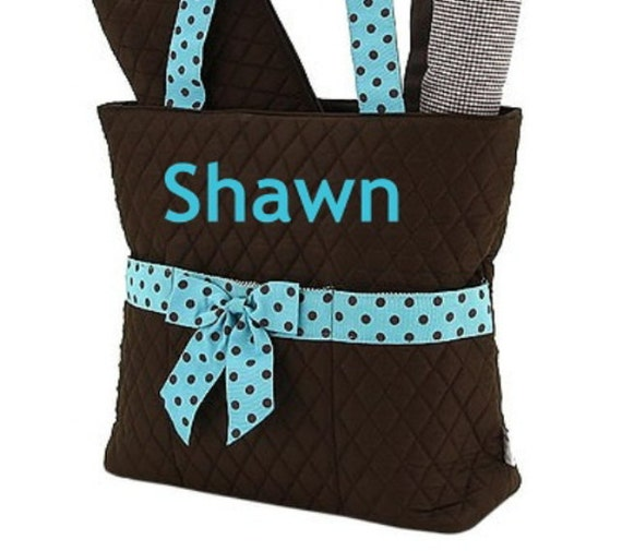 Personalized Diaper Bag Quilted Brown Turquoise Blue Set