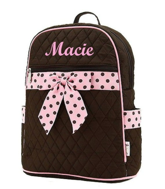 Personalized Medium Backpack Quilted Brown Pink