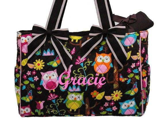 personalized diaper bag quilted owl brown pink