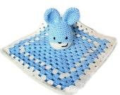 SALE Crochet Blue Bunny Soothing Comfort Blanket