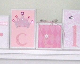 Princess Room Decor . Nursery Name Blocks . Nursery Decor . Baby Name Blocks . Wood Name Blocks . M2M Princess . Pink White Purple