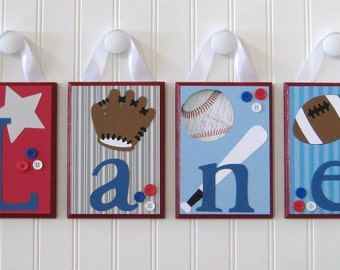 Name Blocks . Nursery Name Letters . Baby Name Blocks . Hanging Wood Name Blocks . Sports . Football Baseball Soccer Basketball