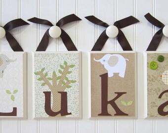 Name Blocks . Nursery Name Blocks . Nursery Decor . Baby Name Blocks . Hanging Wood Name Blocks . Elephant Theme . Luka