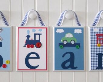 Name Blocks . Nursery Name Blocks . Nursery Decor . Baby Name Blocks . Hanging Wood Name Blocks . Train Theme . Sean