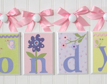 Name Blocks . Nursery Name Blocks . Nursery Decor . Hanging Wood Name Blocks . Lavender Daisy . Garden . Flowers. Butterflies