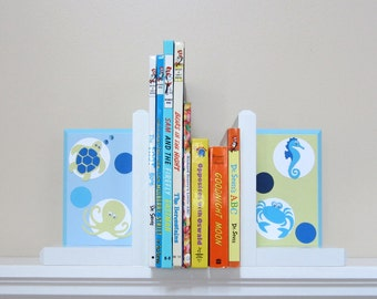 Boutique Bookends . HAND BEVELED EDGE . Childrens Bookends. Custom Bookends . Name Blocks . Bubbles Baby . Bedding