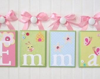 Wall Letters . Nursery Name Blocks . Nursery Decor . Baby Name Blocks . Hanging Wood Name Blocks . Garden Theme . Emma
