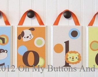 Name Blocks . Nursery Name Blocks . Nursery Decor . Baby Name Blocks . Hanging Wood Name Blocks . Bedding . Animals . Jungle
