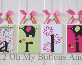 Hanging Name Letters . Nursery Name Blocks . Nursery Decor . Name Blocks . Hot Pink . Lime Green .Flowers . Elephant . Karlie