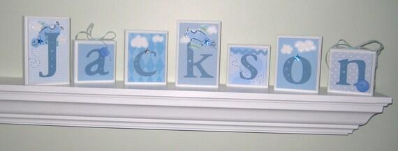 ROUTED EDGE . Name Blocks . Nursery Name Blocks . Nursery Decor . Baby Name Blocks . Wood Letter Blocks . Bedding . Airplane . Blue White