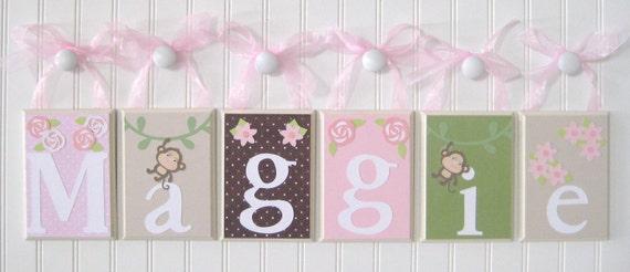Name Blocks . Nursery Name Blocks . Wood Name Letter . Baby Name Blocks . Hanging Wood Name Blocks . Rose Flower Monkey