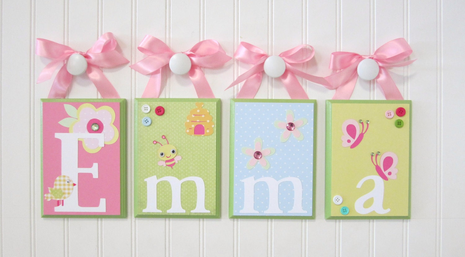 Wall letters nursery name blocks nursery decor baby name for Baby name letters for nursery