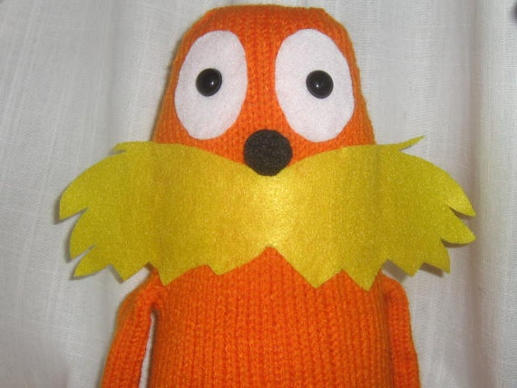 SALE Dr. Seuss The Lorax, Knit Amigurumi Toy, Plush, Photography Prop, Ready to Ship