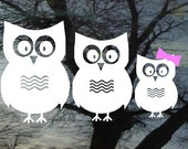 Vinyl Car Window Decal 4h x 9 - Set of 3 owls...PaPa, MaMa, and one little one - cute family FREE Pink Bows for the girls/Blue caps for boys
