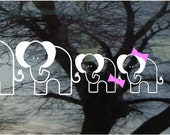 Vinyl Car Window Decal 3.5h x 12 - Set of 4 Elephants...PaPa, MaMa, and two little ones - cute family FREE Pink Bows or blue caps