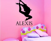 Vinyl Wall Decal Silhouette......Dance 3  with Name - 34h x 22 w sports silhouette vinyl decal personalized extra large
