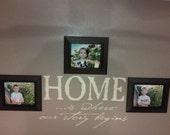 Vinyl Wall Decal - HOME...is where our story begins- 14h x 22.5w - family room