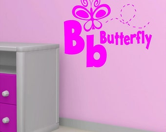 Vinyl Wall Decal......B is for BUTTERFLY - 10h x 12 w
