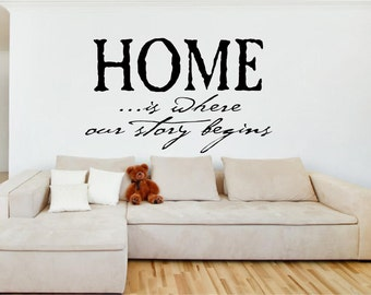 Vinyl Wall Decal - HOME...is where our story begins- 22h x 36w - family room