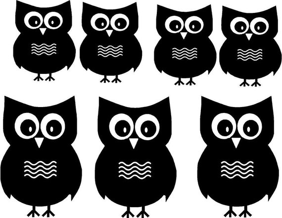 Vinyl Wall Decal...Owl Decals.....7 Hoot Owls  - 3 Large and 4 small.....great for a child's room or teen room