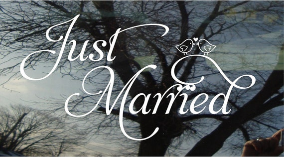 Vinyl Car Window Decal - Just Married with Love Birds- 12 x 22....wedding car or wall decal