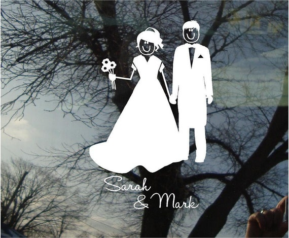 Vinyl Car Window Decal - Bride and Groom Stick figure car decal with names  8.5h x 5.5w...wedding vinyl decal