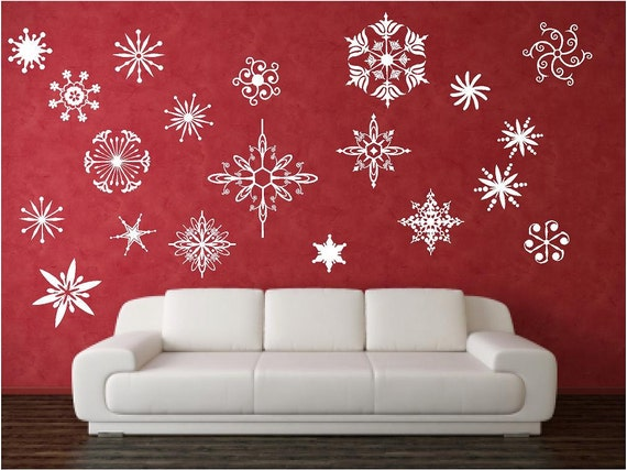 items similar to vinyl wall decal elegant snowflakes 20 snowflakes no two alike. Black Bedroom Furniture Sets. Home Design Ideas