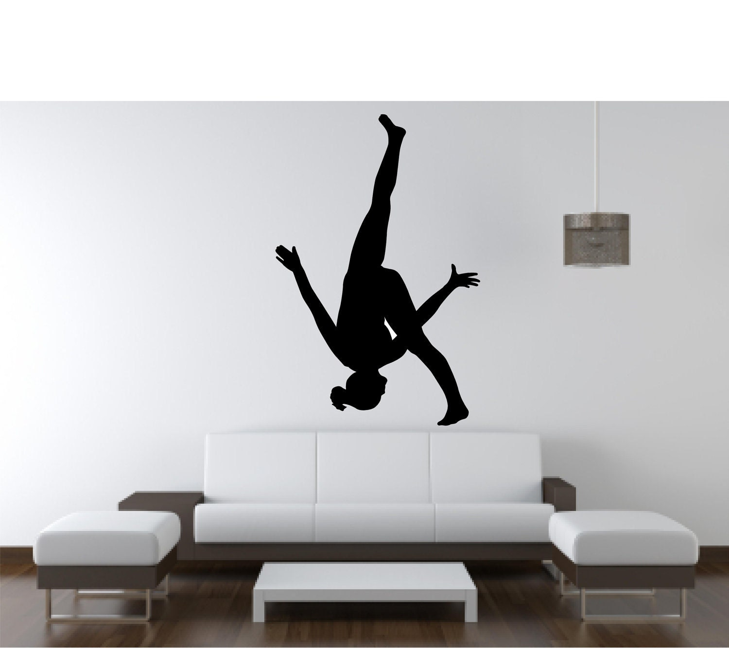 Vinyl wall decal silhouettegymnast 3 34h by for Gymnastics wall decals