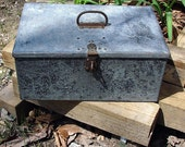 Old Galvanized Metal Storage Box Handcrafted