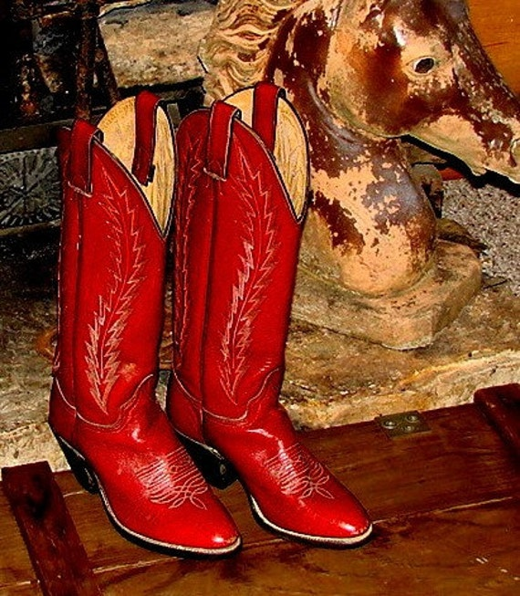 Red Leather Womens Cowboy Boots