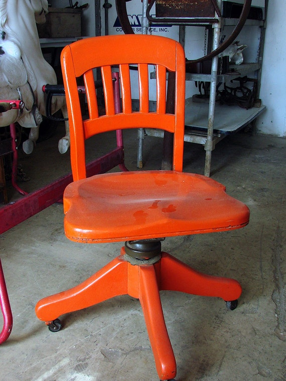 Antique Wooden Office Desk Chair Orange Shabby and Chic  Orange Blast