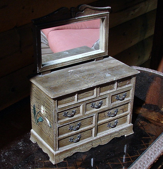 Vintage  Dresser Style Mirrored Jewelry Box Reserved for Sperryphoto