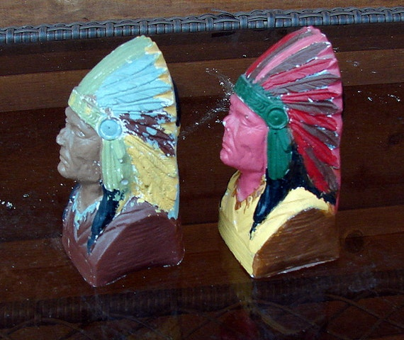 1950s Chalkware Indian Chief Heads