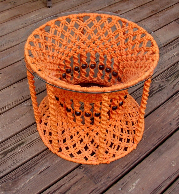 Vintage Hippie Orange Tangerine Night Stand End Table Macrame Cool