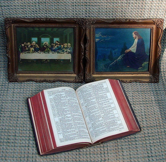 1800s Rare Cambridge Leather Bound Bible Sold By Rivingtons Two Old Christ Framed Prints