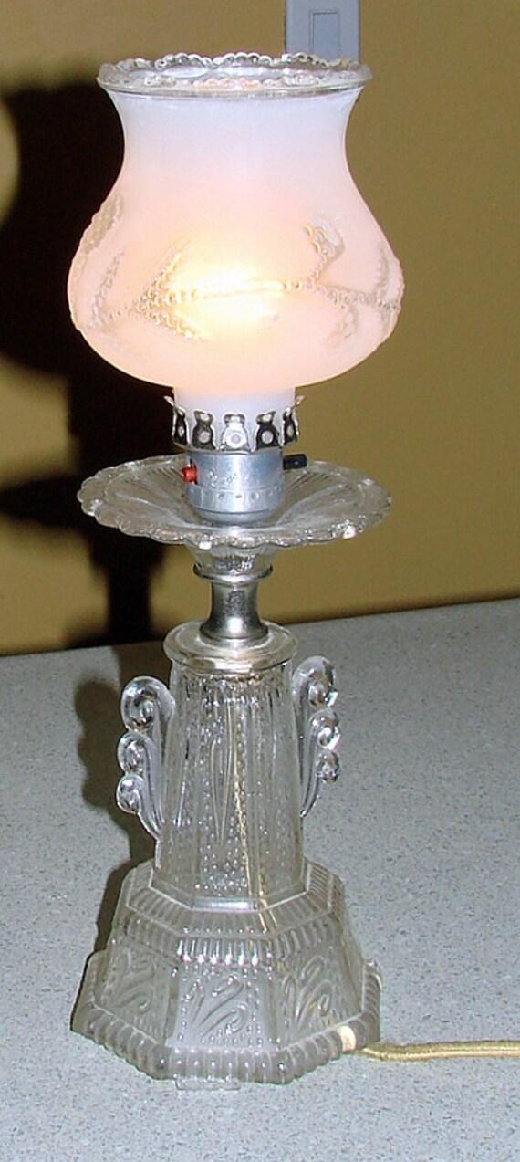 Beautiful Crystal Lamp Rare Shabby Chic Design