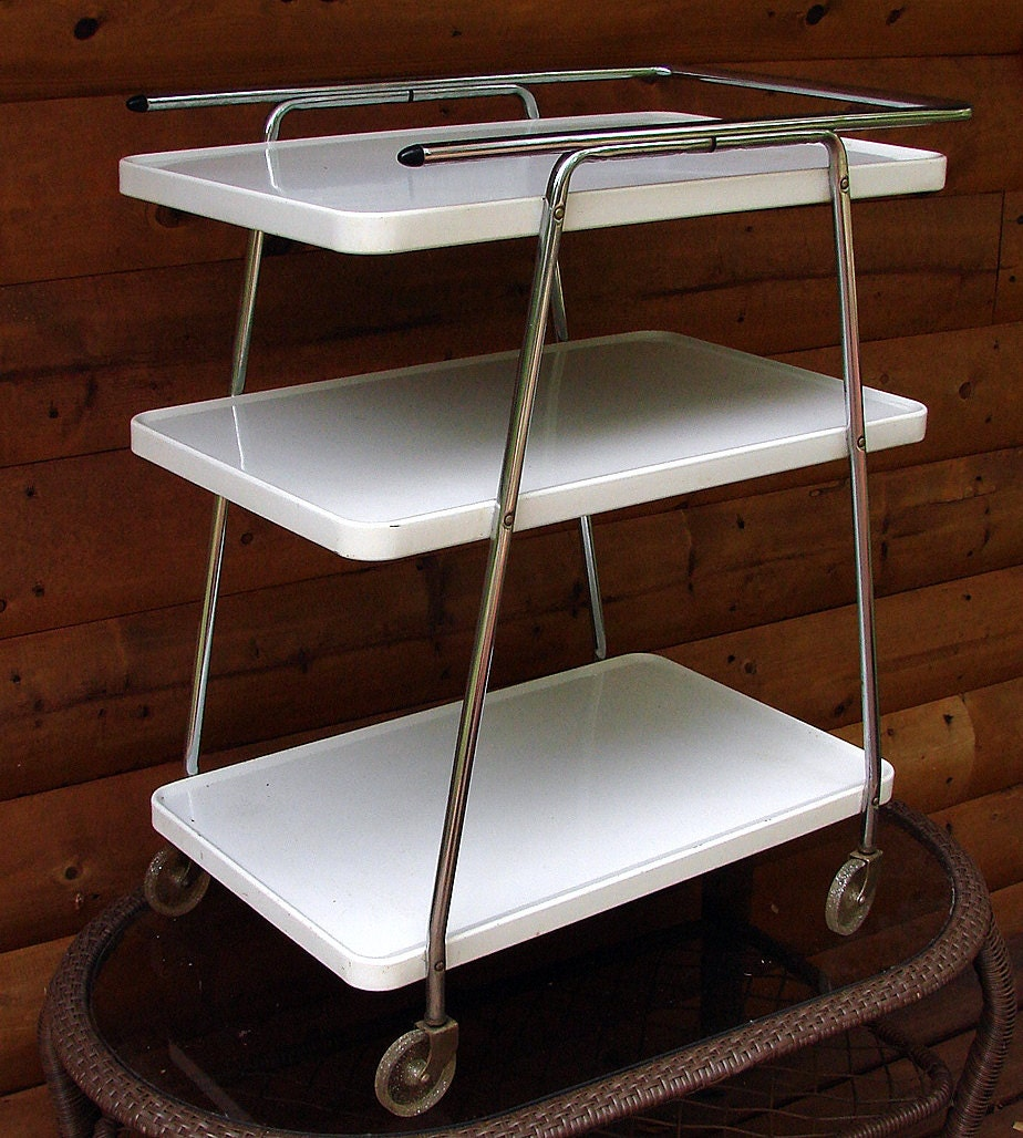 Vintage Metal Cart Serving Cart Kitchen Cart Red: Vintage Kitchen Serving Utility Cart Retro Cool White And
