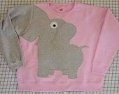 Elephant shirt, elephant Trunk sweatshirt, UNISEX adult sizes, Pale Pink, elephant jumper, elephant sweatshirt