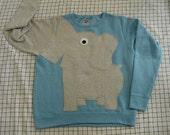 Fun Elephant Trunk sleeve sweatshirt LADIES S Sky Blue