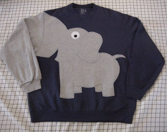 Elephant shirt, elephant sweatshirt, elephant Trunk sleeve shirt, elephant jumper, Unisex adult sizes  NAVY Blue