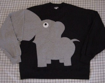 Black sweatshirt with elephant trunk sleeve, elephant sweatshirt, adult sizes. Elephant jumper, Elephant sweater.