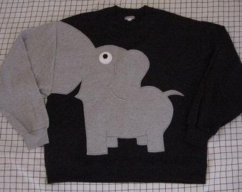 Black sweatshirt with elephant trunk sleeve, elephant sweatshirt, adult sizes. Elephant jumper, Elephant sweater.