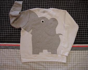 White Elephant Trunk shirt, elephant sweatshirt, elephant sweater, jumper, UNISEX adult sizes, white